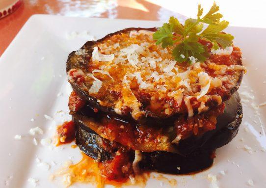 Parmigianina di melanzane grigliate con pecorino di Pienza
